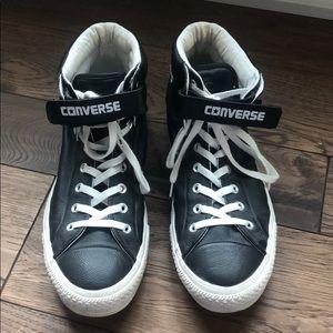Black Leather Converse High Top Velcro Strap
